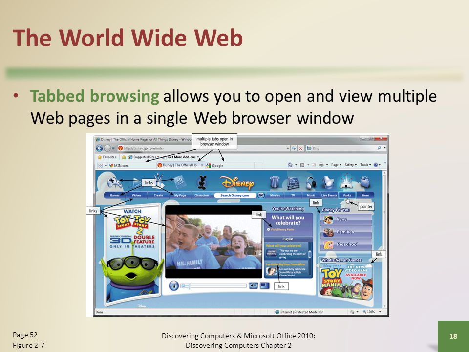 The World Wide Web Tabbed browsing allows you to open and view multiple Web pages in a single Web browser window.