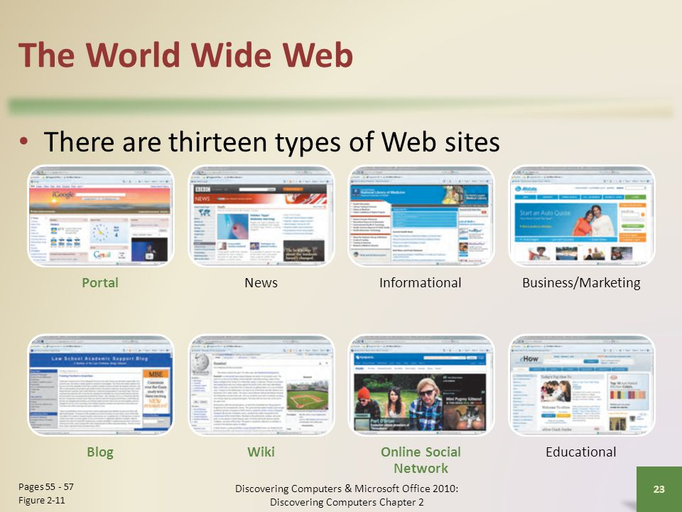 The World Wide Web There are thirteen types of Web sites Portal News