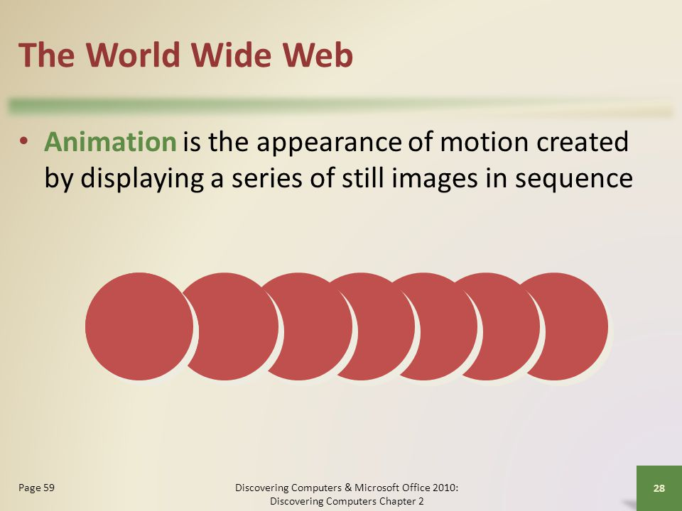 The World Wide Web Animation is the appearance of motion created by displaying a series of still images in sequence.