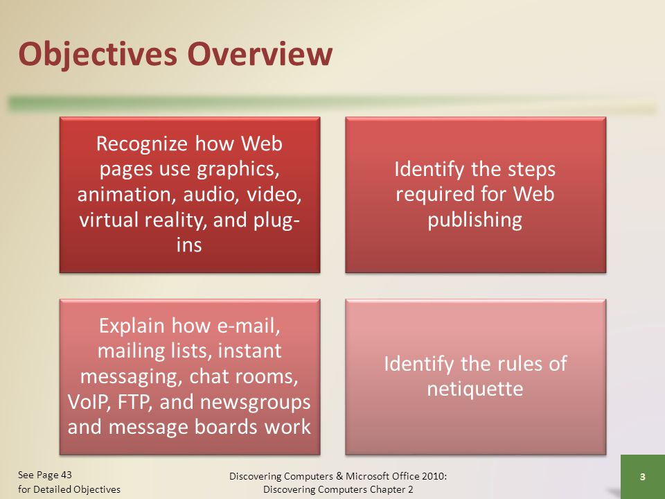 Objectives Overview Recognize how Web pages use graphics, animation, audio, video, virtual reality, and plug-ins.