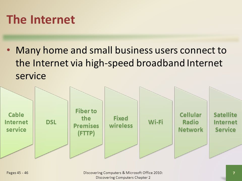 The Internet Many home and small business users connect to the Internet via high-speed broadband Internet service.