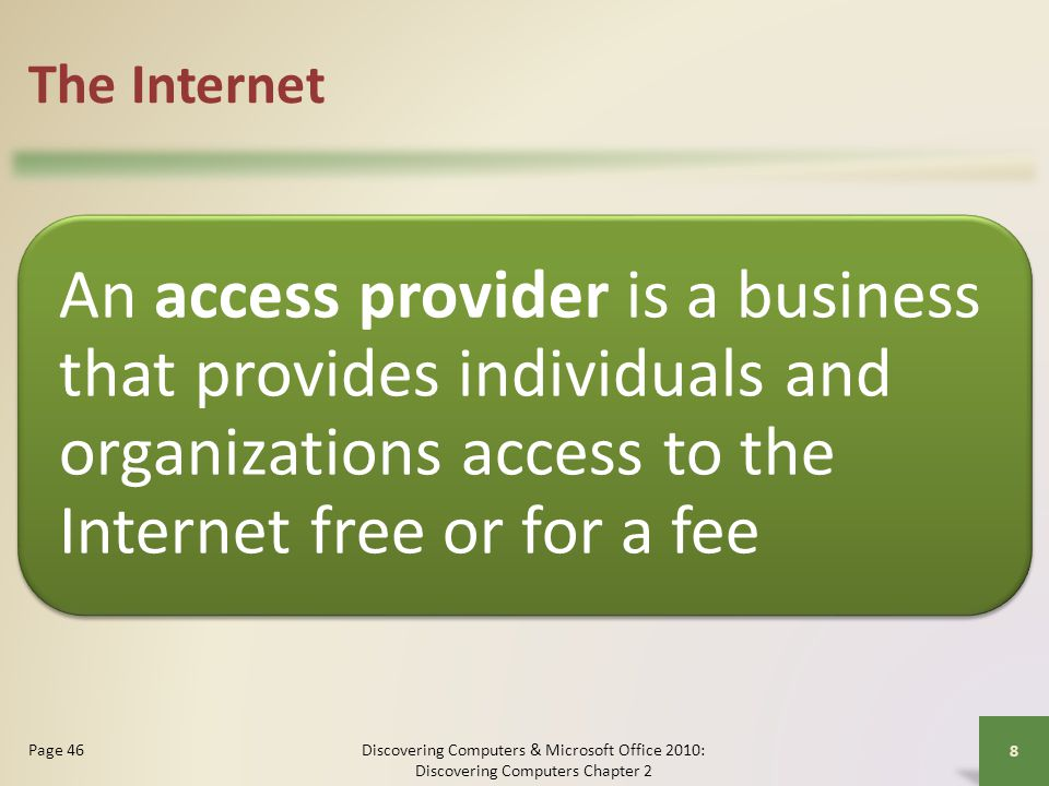 The Internet An access provider is a business that provides individuals and organizations access to the Internet free or for a fee.
