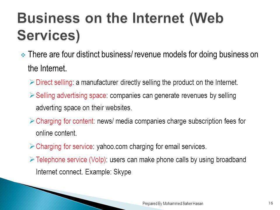 Business on the Internet (Web Services)