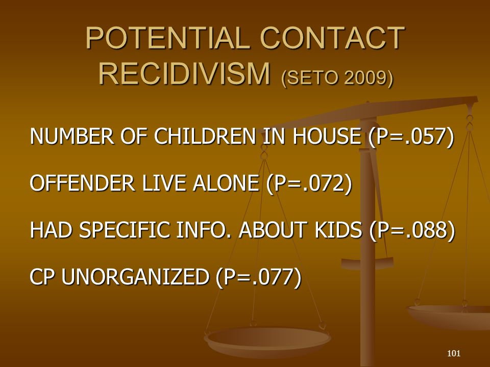 POTENTIAL CONTACT RECIDIVISM (SETO 2009)