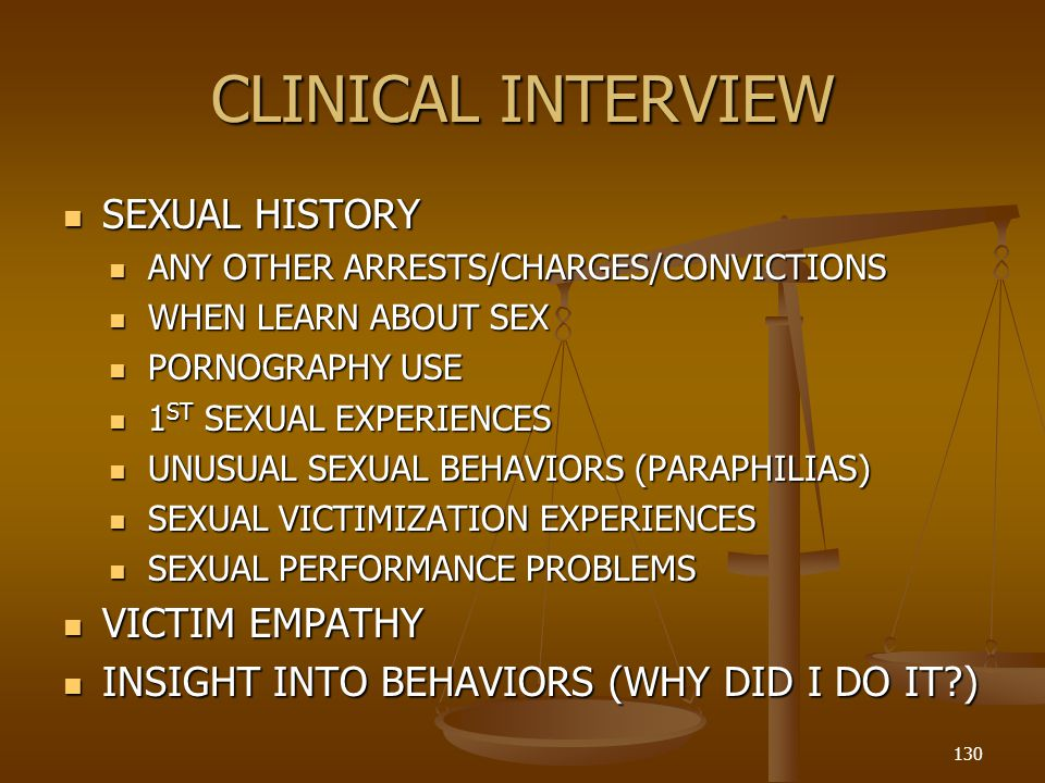 CLINICAL INTERVIEW SEXUAL HISTORY VICTIM EMPATHY