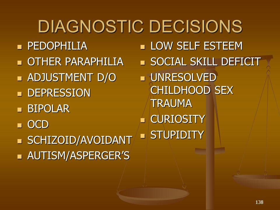 DIAGNOSTIC DECISIONS PEDOPHILIA LOW SELF ESTEEM OTHER PARAPHILIA