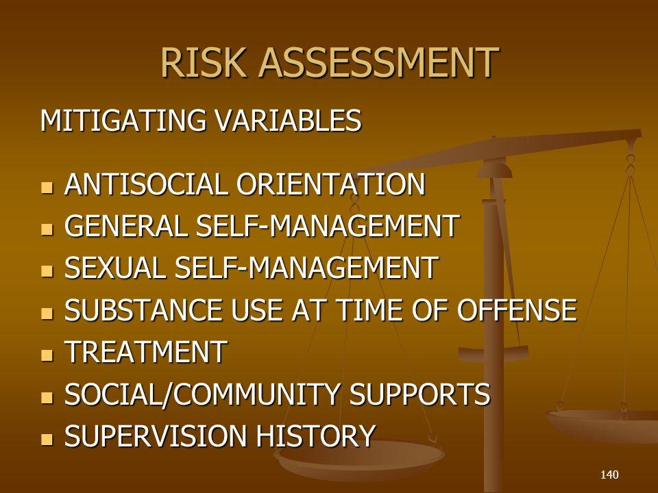 RISK ASSESSMENT MITIGATING VARIABLES ANTISOCIAL ORIENTATION