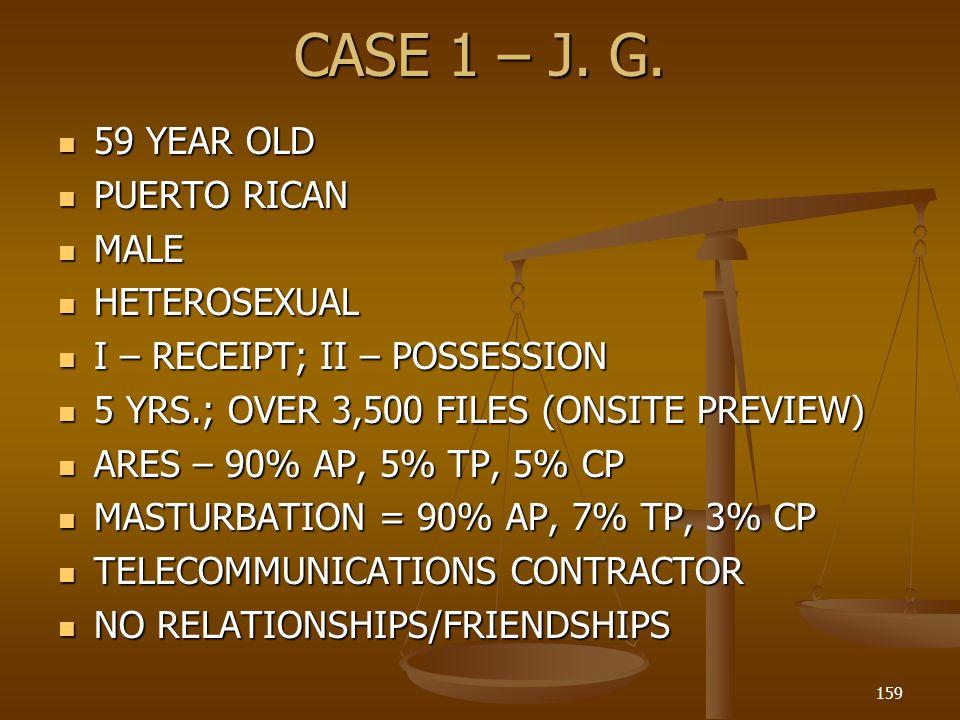 CASE 1 – J. G. 59 YEAR OLD PUERTO RICAN MALE HETEROSEXUAL