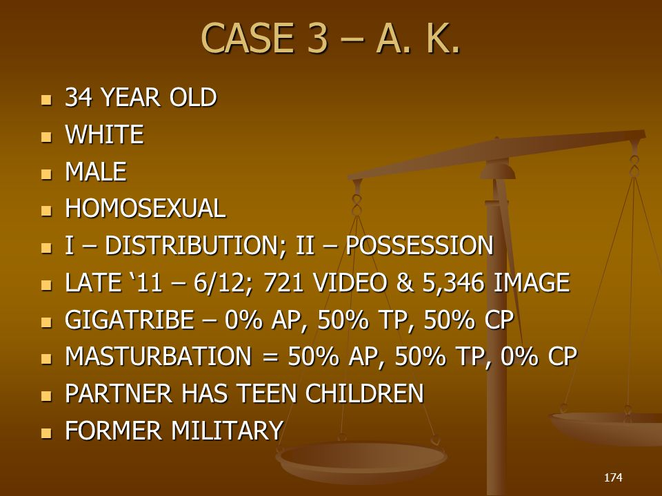 CASE 3 – A. K. 34 YEAR OLD WHITE MALE HOMOSEXUAL