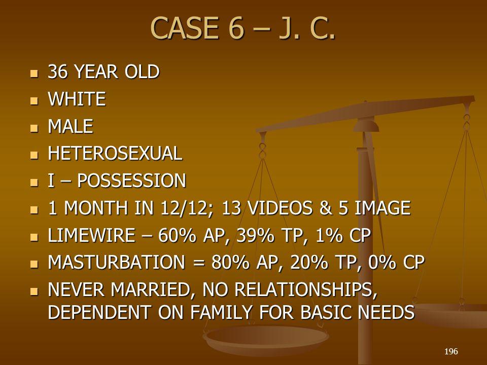 CASE 6 – J. C. 36 YEAR OLD WHITE MALE HETEROSEXUAL I – POSSESSION