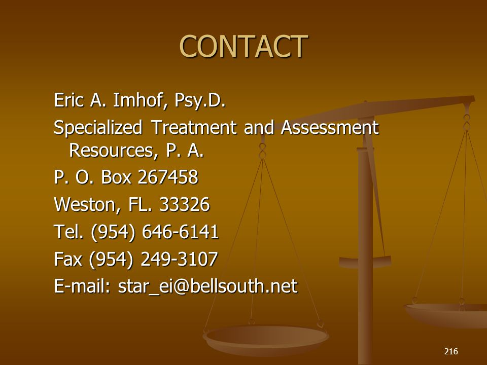 CONTACT Eric A. Imhof, Psy.D.