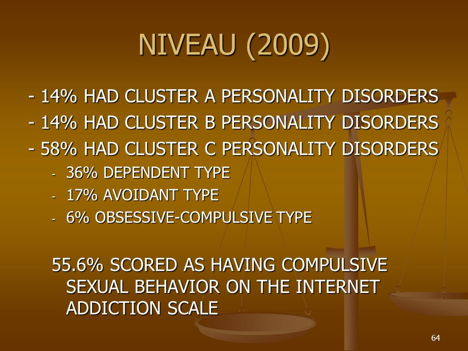 NIVEAU (2009) - 14% HAD CLUSTER A PERSONALITY DISORDERS
