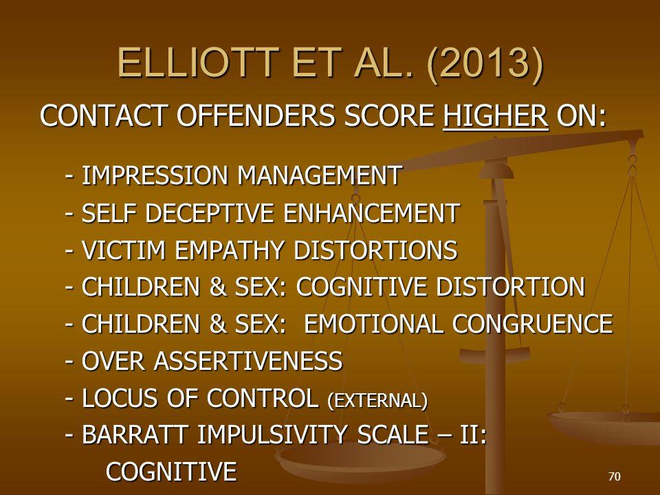 ELLIOTT ET AL. (2013) CONTACT OFFENDERS SCORE HIGHER ON: