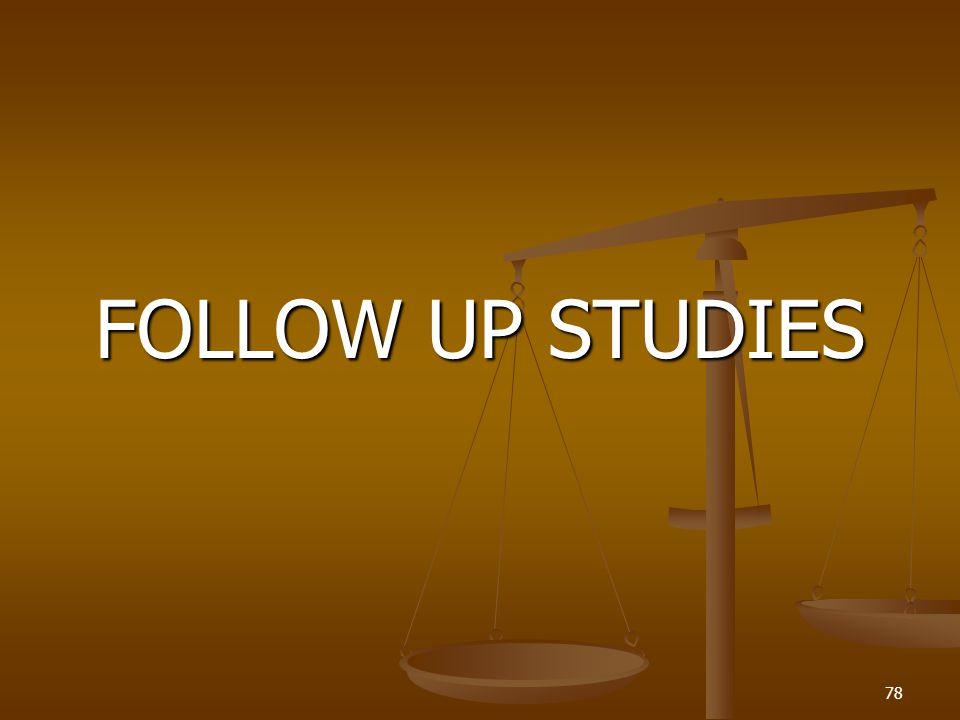 FOLLOW UP STUDIES