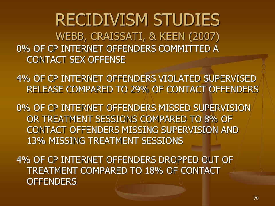 RECIDIVISM STUDIES WEBB, CRAISSATI, & KEEN (2007)