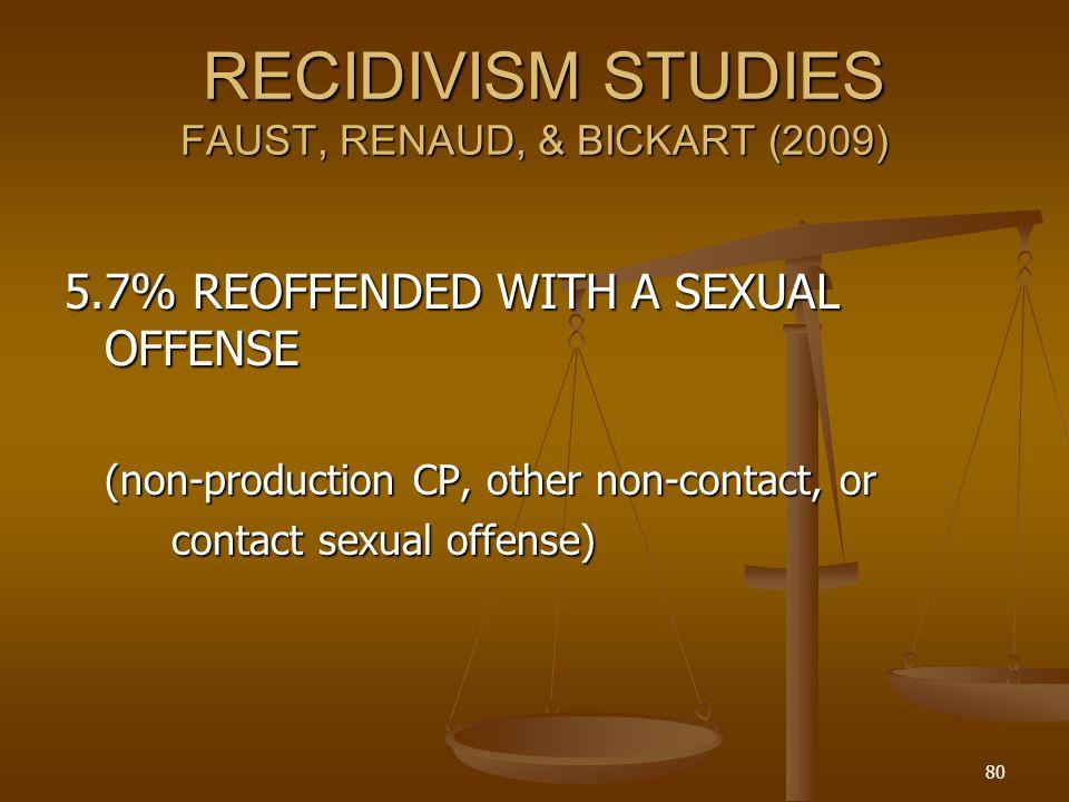 RECIDIVISM STUDIES FAUST, RENAUD, & BICKART (2009)