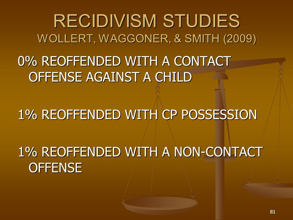 RECIDIVISM STUDIES WOLLERT, WAGGONER, & SMITH (2009)
