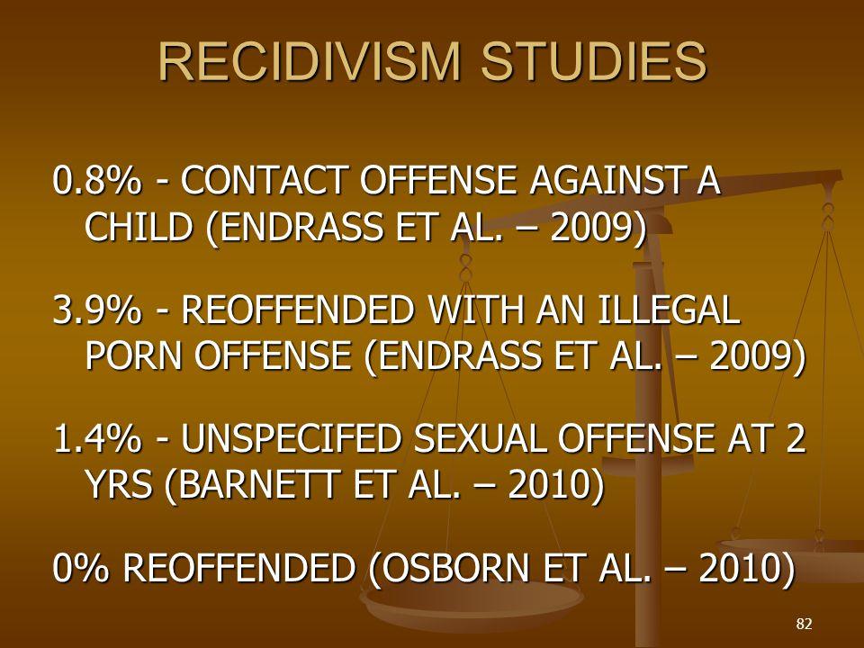 RECIDIVISM STUDIES 0.8% - CONTACT OFFENSE AGAINST A CHILD (ENDRASS ET AL. – 2009)