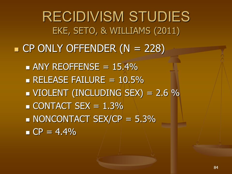 RECIDIVISM STUDIES EKE, SETO, & WILLIAMS (2011)