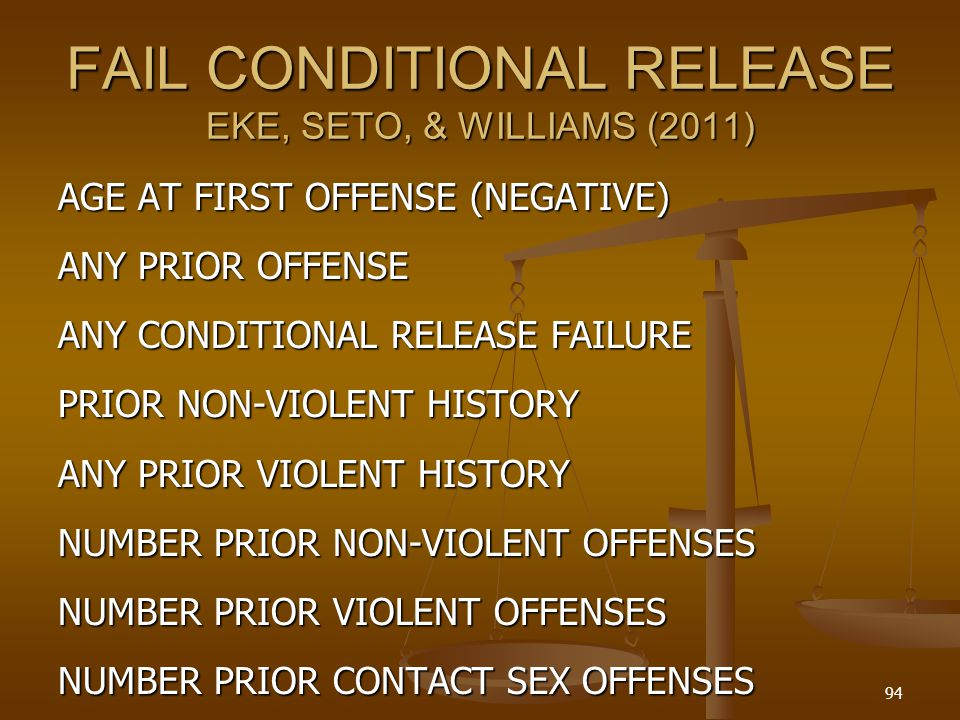 FAIL CONDITIONAL RELEASE EKE, SETO, & WILLIAMS (2011)