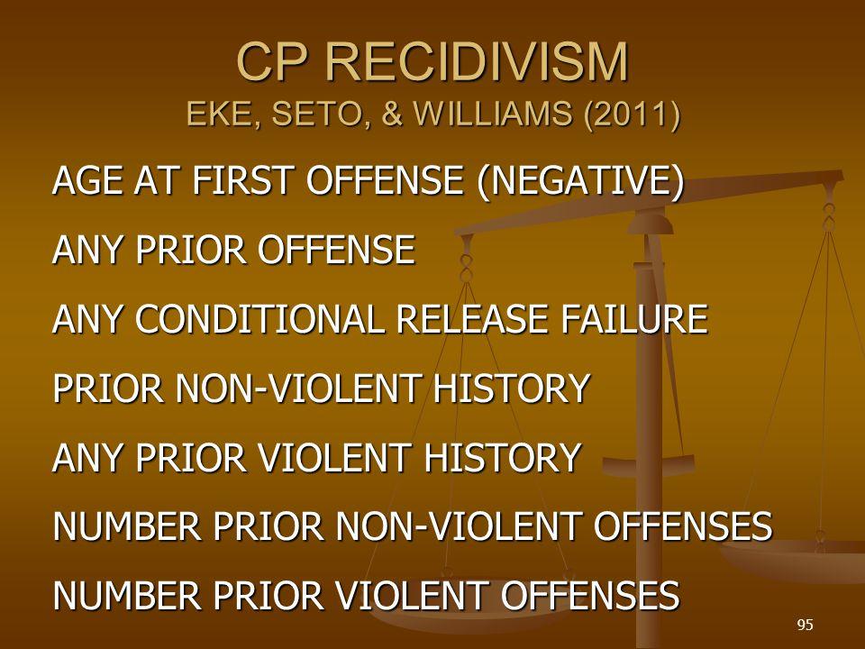 CP RECIDIVISM EKE, SETO, & WILLIAMS (2011)