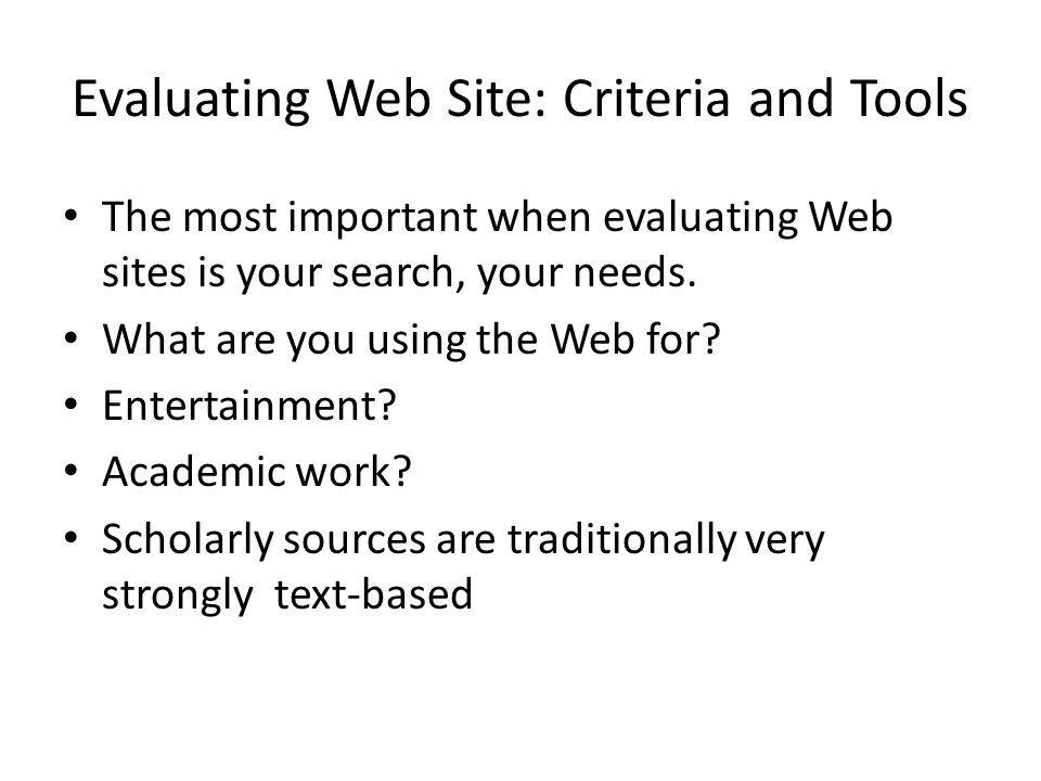 Evaluating Web Site: Criteria and Tools