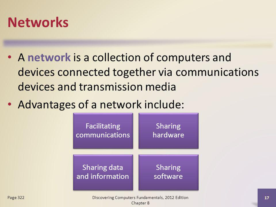 Networks A network is a collection of computers and devices connected together via communications devices and transmission media.