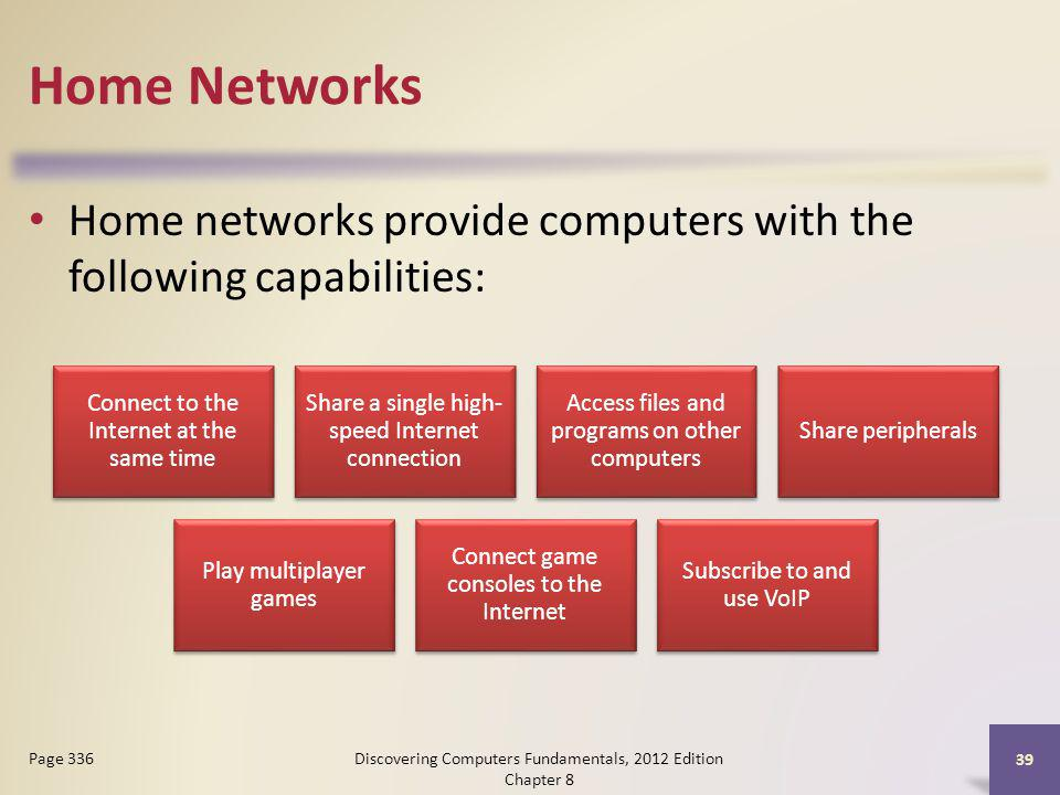 Home Networks Home networks provide computers with the following capabilities: Connect to the Internet at the same time.