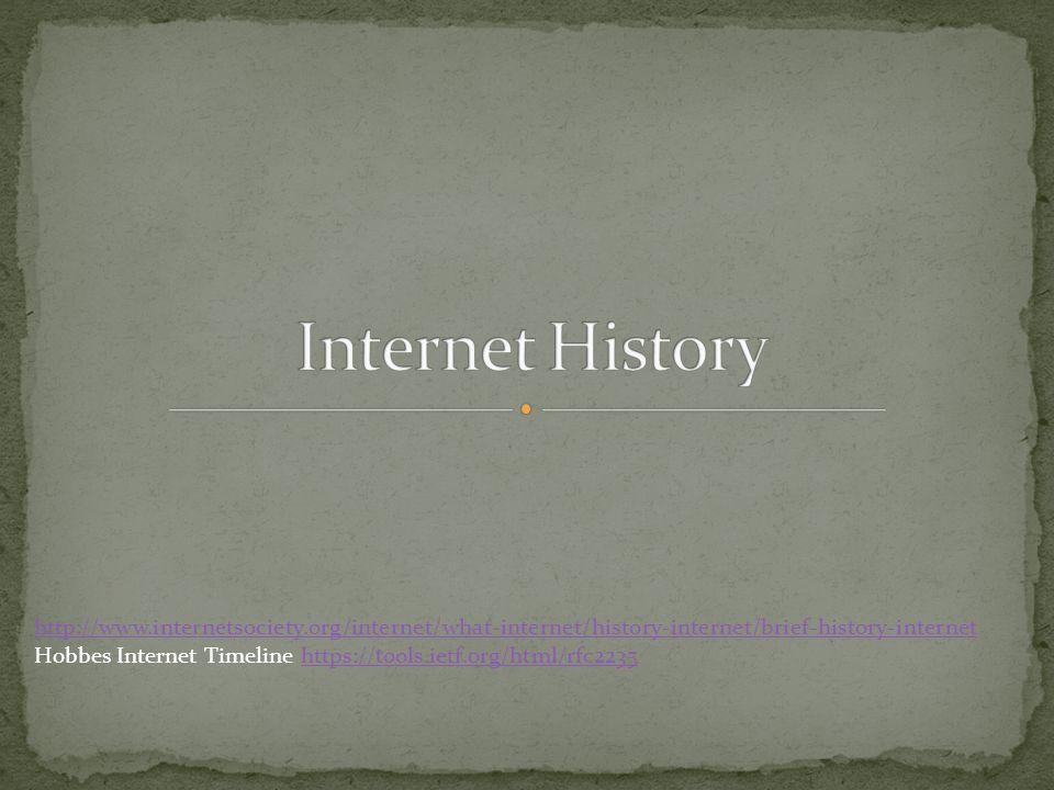 Internet History http://www.internetsociety.org/internet/what-internet/history-internet/brief-history-internet.