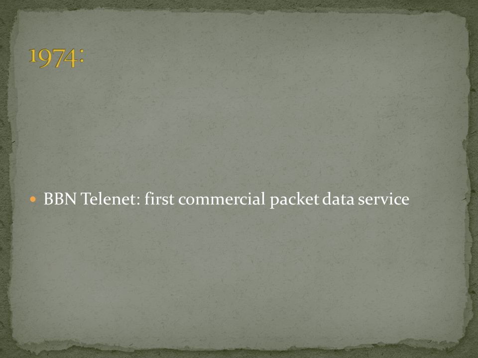 1974: BBN Telenet: first commercial packet data service