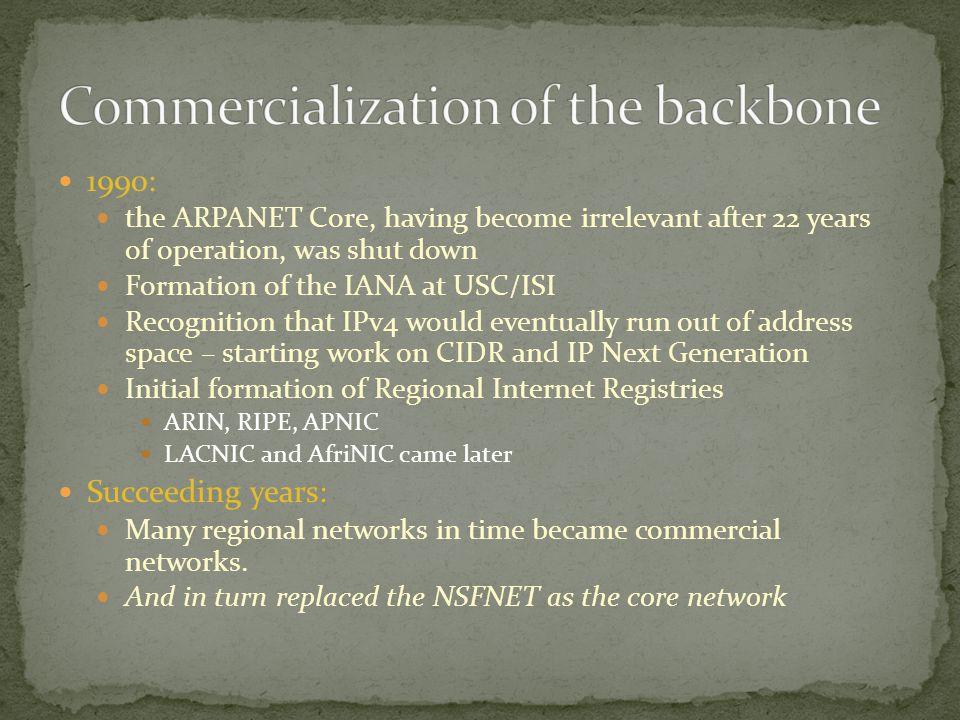 Commercialization of the backbone