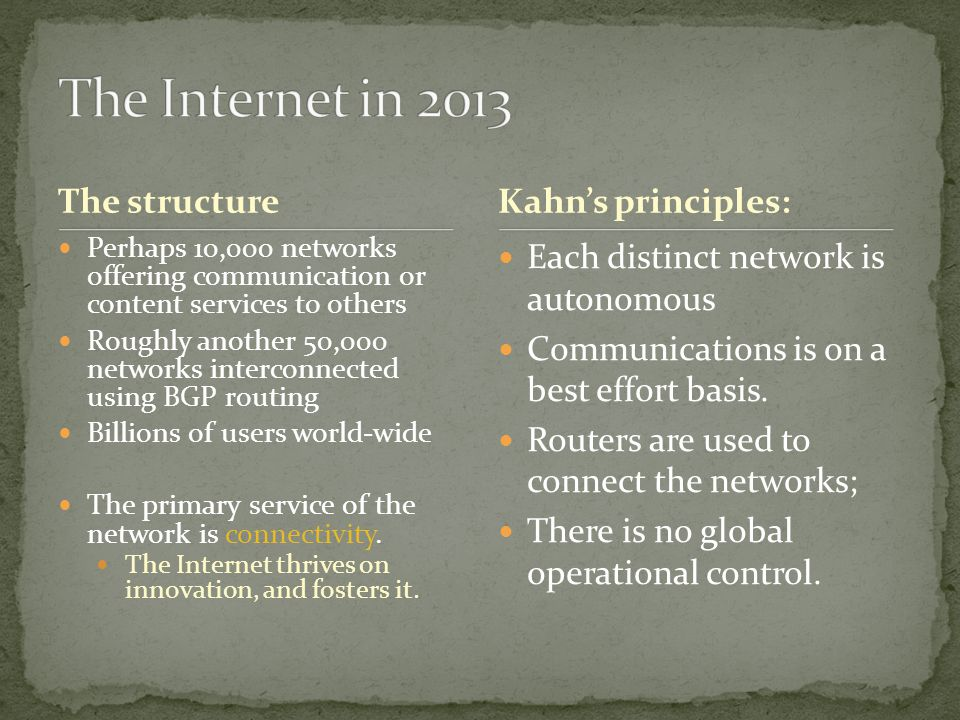 The Internet in 2013 The structure Kahn's principles: