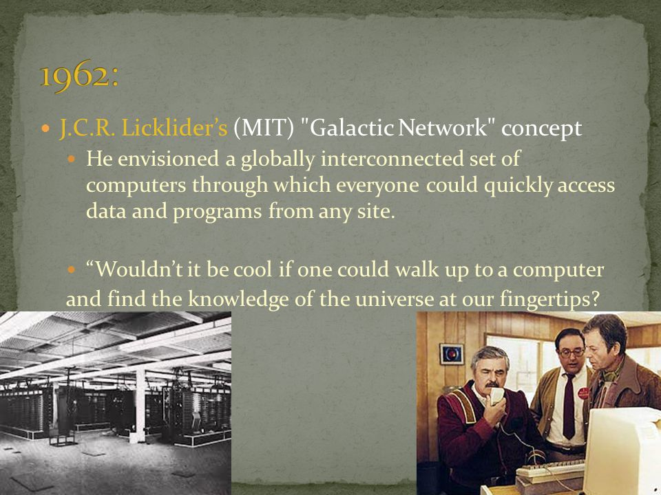 1962: J.C.R. Licklider's (MIT) Galactic Network concept