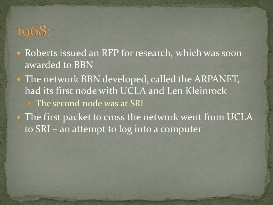 1968: Roberts issued an RFP for research, which was soon awarded to BBN.