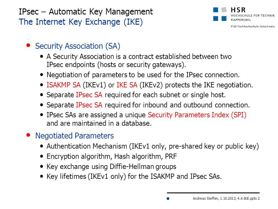 IPsec – Automatic Key Management The Internet Key Exchange (IKE)