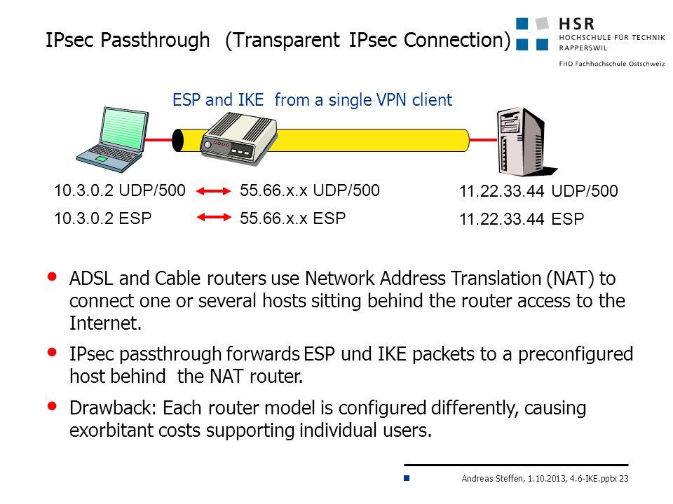 IPsec Passthrough (Transparent IPsec Connection)
