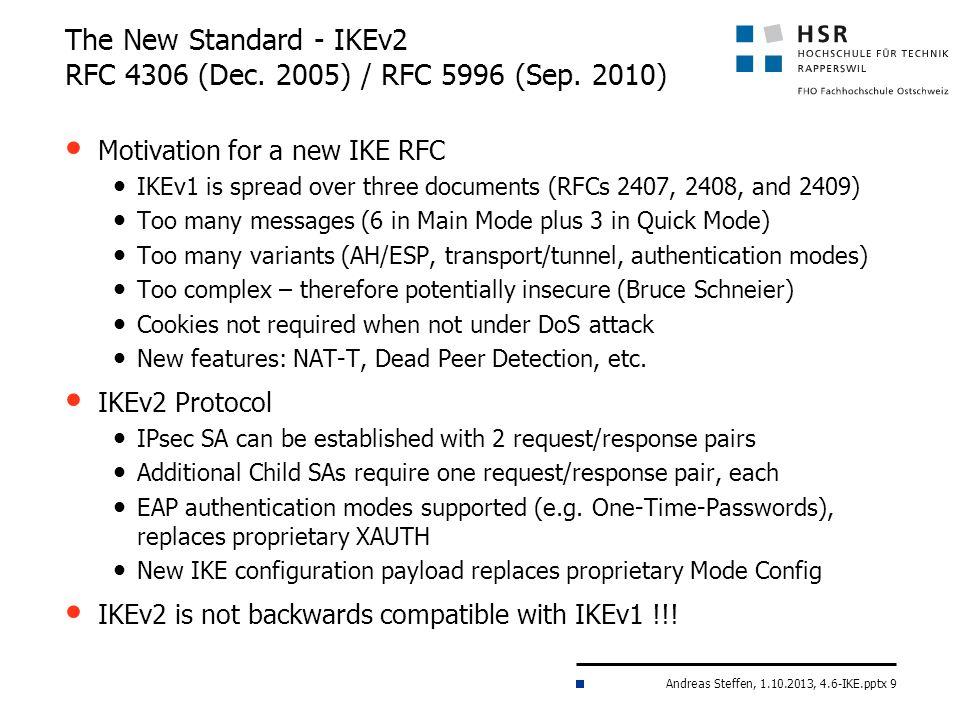 The New Standard - IKEv2 RFC 4306 (Dec. 2005) / RFC 5996 (Sep. 2010)