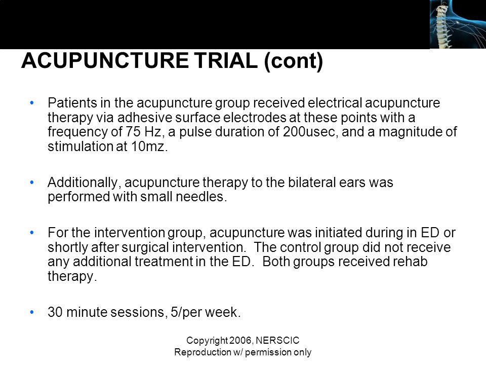 ACUPUNCTURE TRIAL (cont)