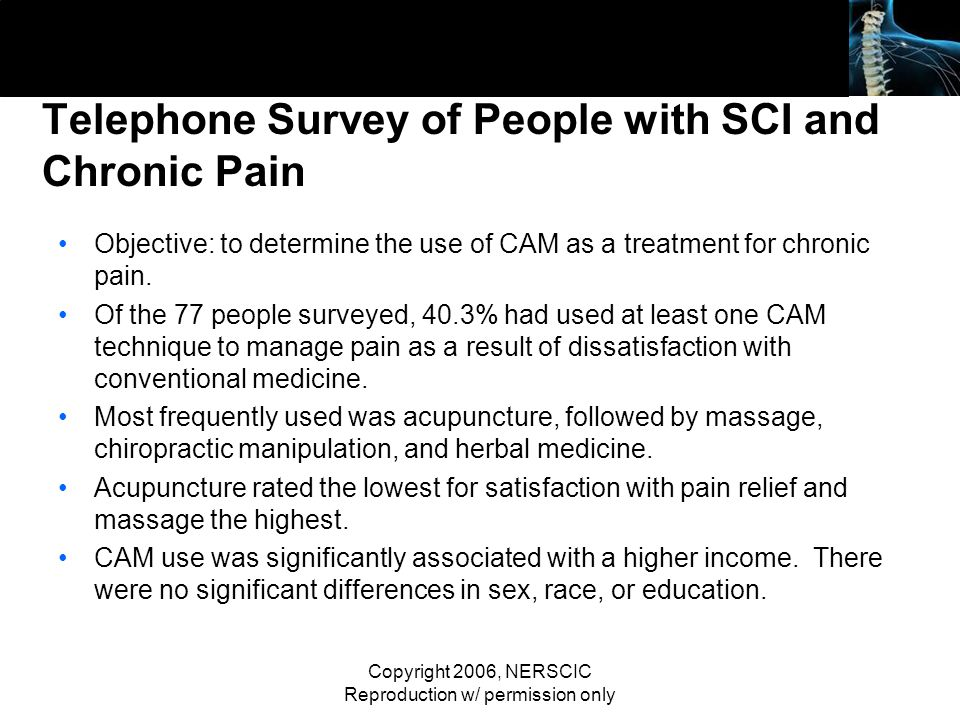 Telephone Survey of People with SCI and Chronic Pain