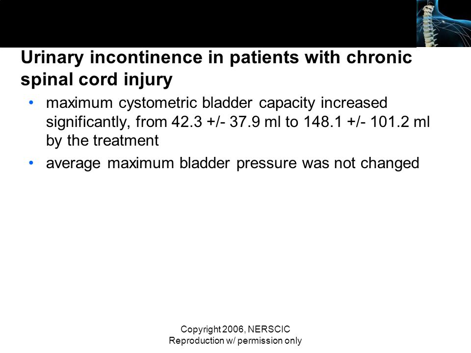 Urinary incontinence in patients with chronic spinal cord injury