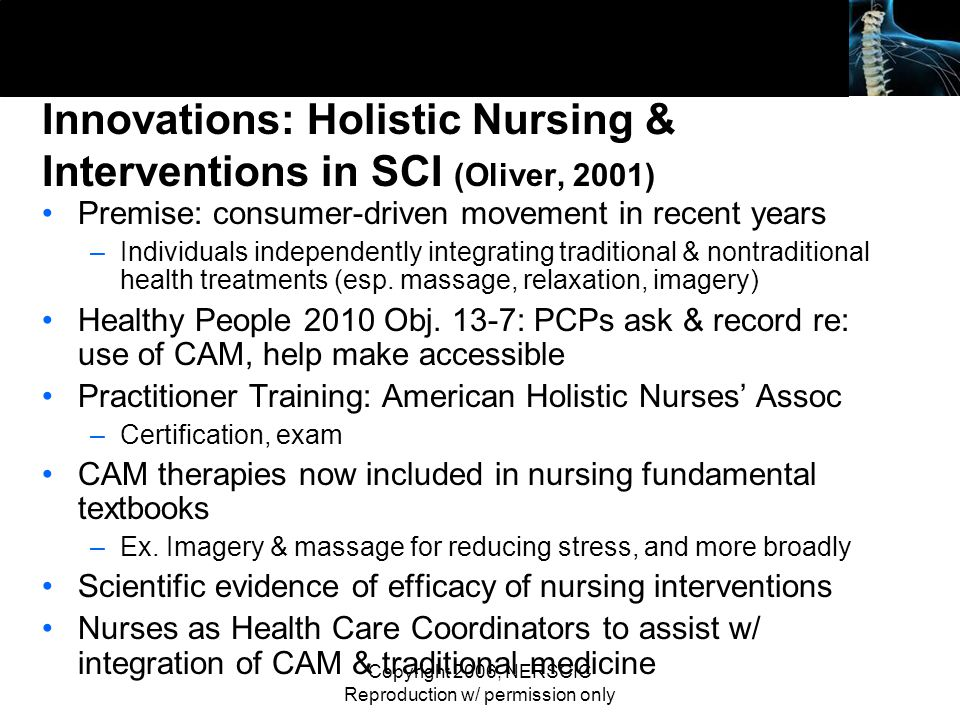 Innovations: Holistic Nursing & Interventions in SCI (Oliver, 2001)