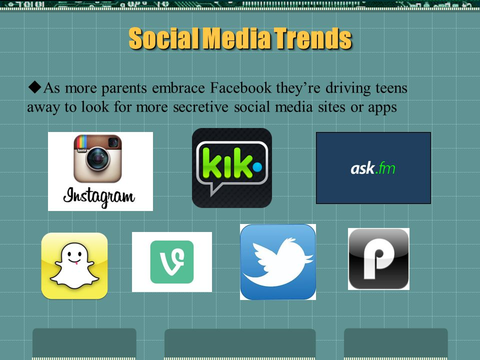Social Media Trends As more parents embrace Facebook they're driving teens away to look for more secretive social media sites or apps.