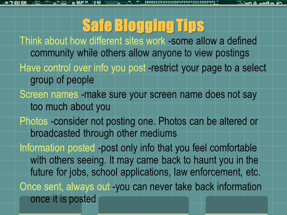 Safe Blogging Tips
