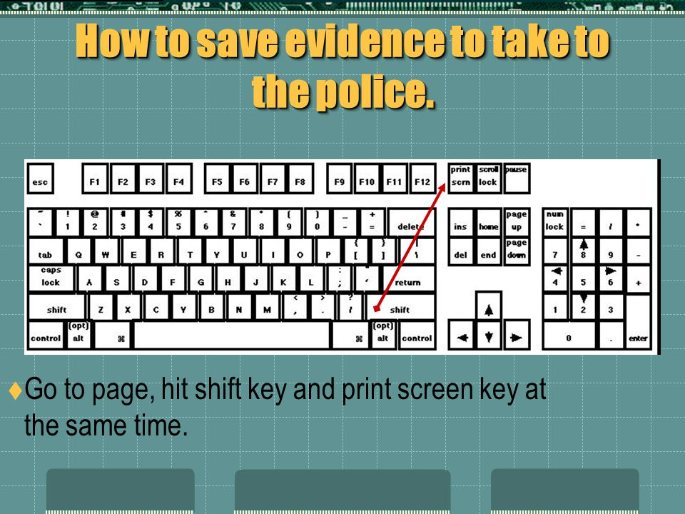 How to save evidence to take to the police.