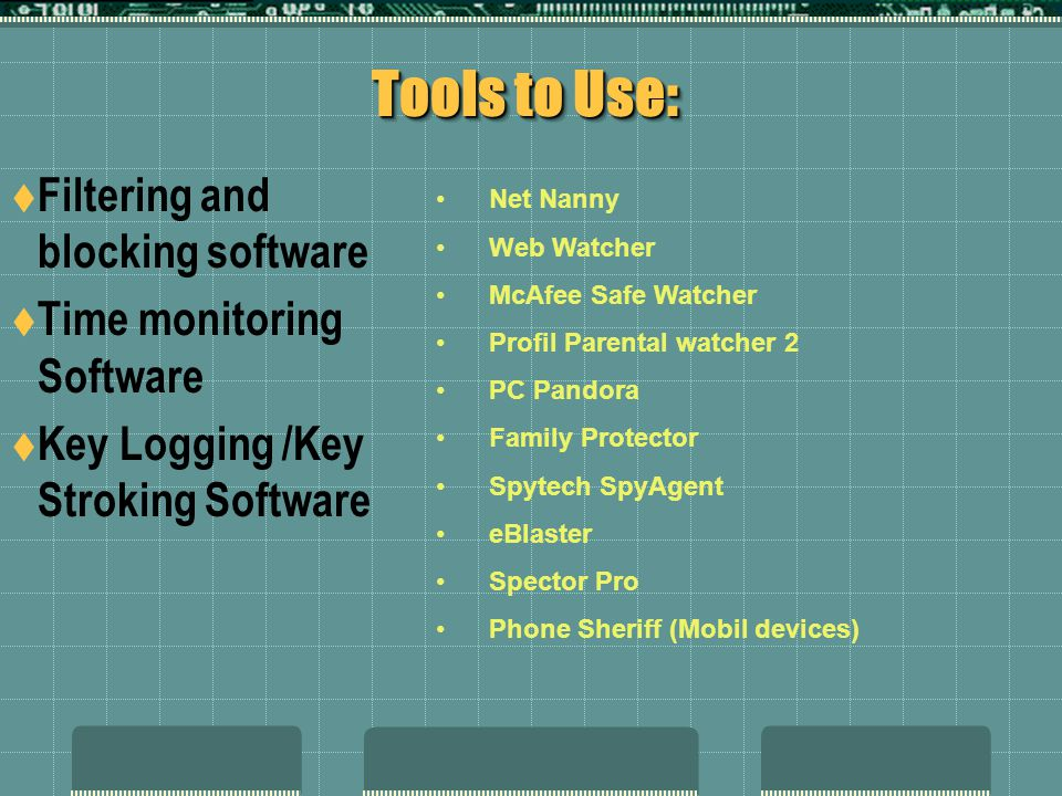 Tools to Use: Filtering and blocking software Time monitoring Software