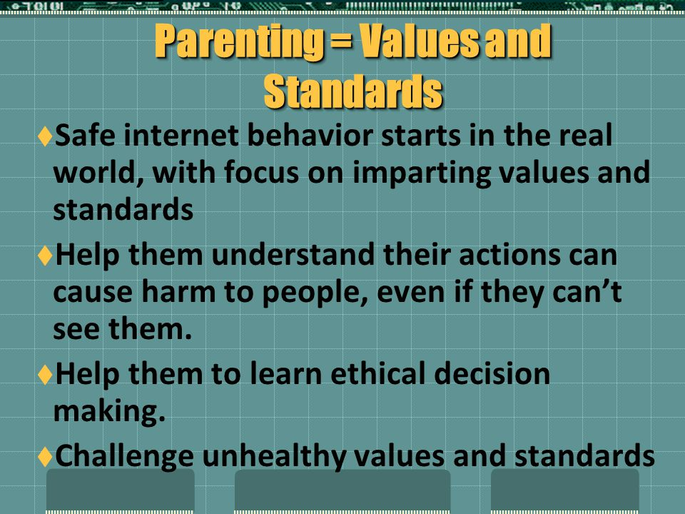 Parenting = Values and Standards