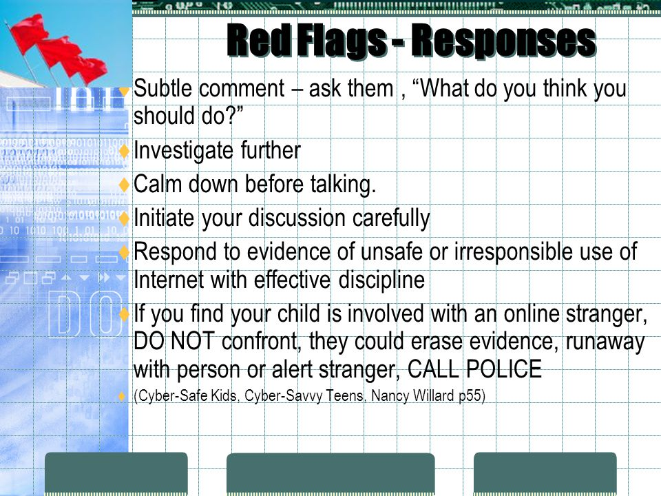 Red Flags - Responses Subtle comment – ask them , What do you think you should do Investigate further.