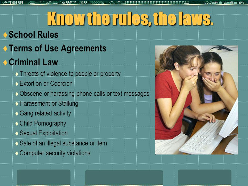 Know the rules, the laws. School Rules Terms of Use Agreements