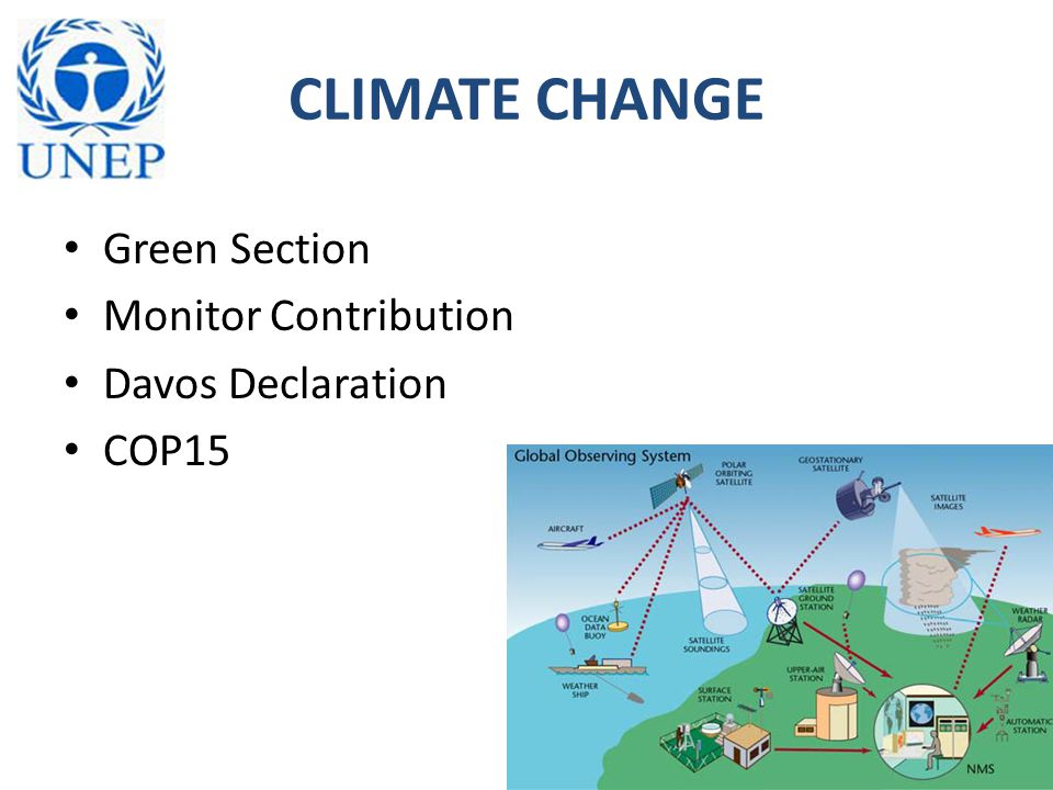 CLIMATE CHANGE Green Section Monitor Contribution Davos Declaration