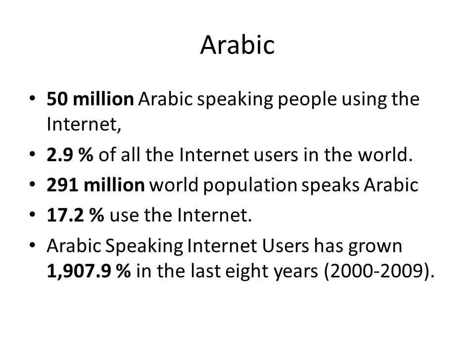 Arabic 50 million Arabic speaking people using the Internet,